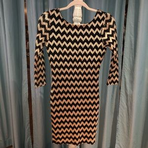 Gold and black chevron body on dress size large